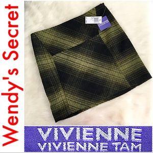 🆕 VIVIENNE TAM Olive & Black Plaid Mini Skirt